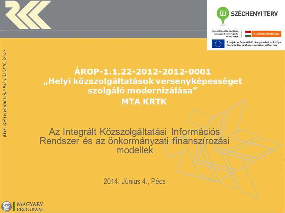 """MTA KRTK Regionális Kutatások Intézete ÁROP-1.1.22-2012-2012-0001 """"Helyi közszolgáltatások versenyképességet szolgáló modernizálása"""" MTA KRTK Az Integ"""