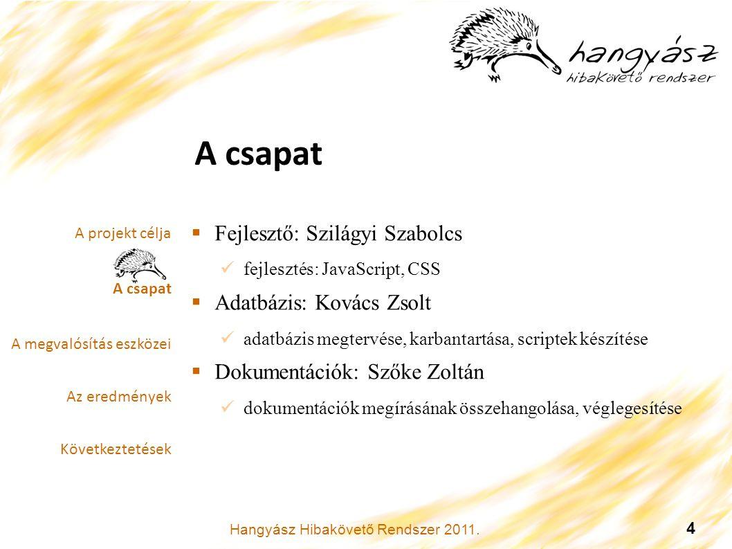 Hangyász Hibakövető Rendszer 2011.5 A megvalósítás eszközei.