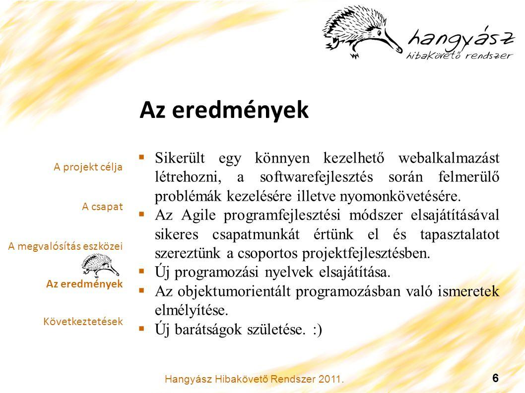 Hangyász Hibakövető Rendszer 2011. 6 Az eredmények.