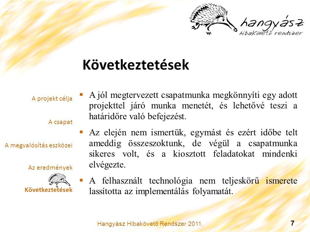Hangyász Hibakövető Rendszer 2011. 7 Következtetések.