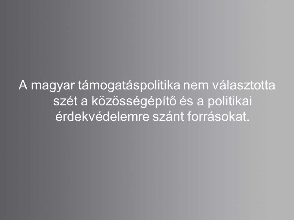 A magyar támogatáspolitika nem választotta szét a közösségépítő és a politikai érdekvédelemre szánt forrásokat.