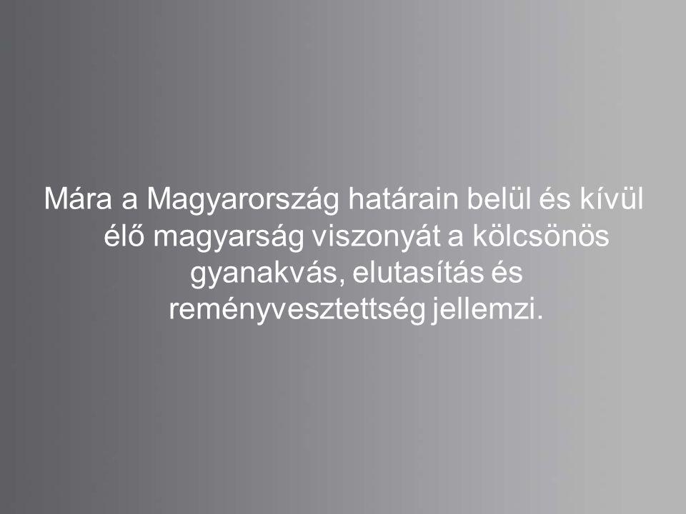 Mára a Magyarország határain belül és kívül élő magyarság viszonyát a kölcsönös gyanakvás, elutasítás és reményvesztettség jellemzi.