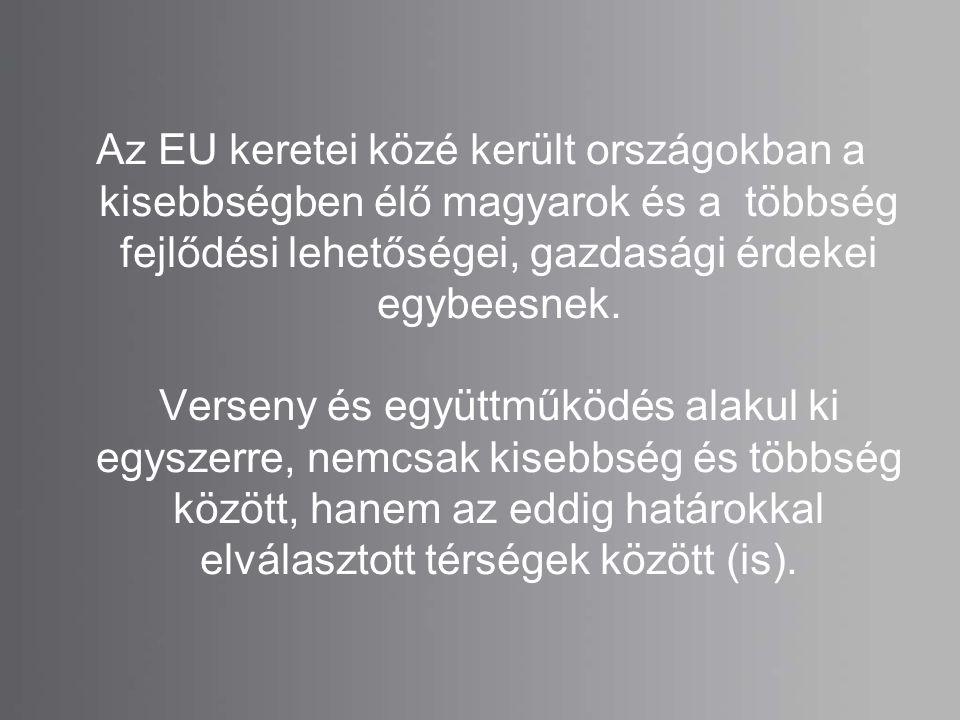 Az EU keretei közé került országokban a kisebbségben élő magyarok és a többség fejlődési lehetőségei, gazdasági érdekei egybeesnek. Verseny és együttm