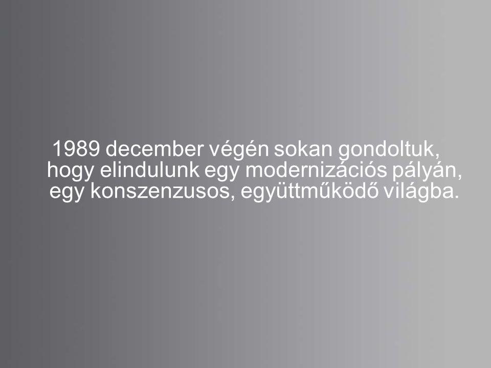 1989 december végén sokan gondoltuk, hogy elindulunk egy modernizációs pályán, egy konszenzusos, együttműködő világba.