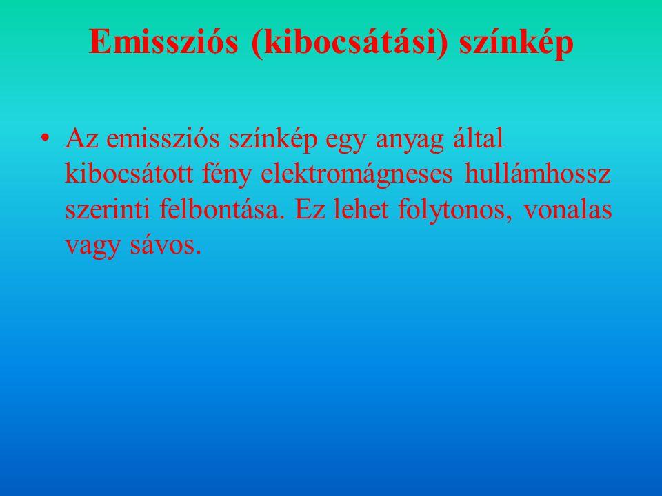 Emissziós (kibocsátási) színkép Az emissziós színkép egy anyag által kibocsátott fény elektromágneses hullámhossz szerinti felbontása. Ez lehet folyto