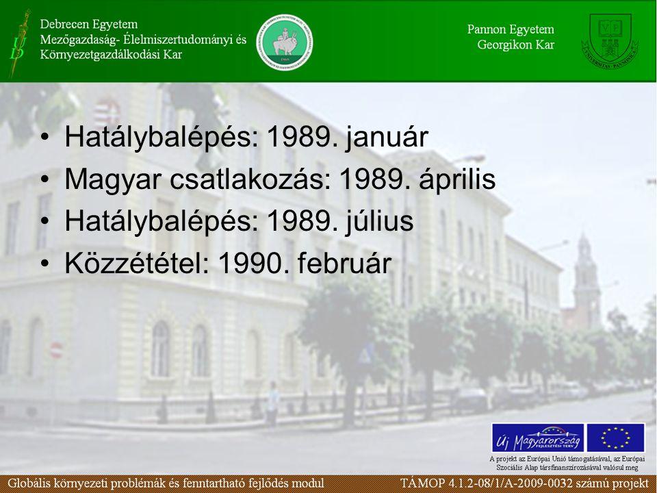 Hatálybalépés: 1989. január Magyar csatlakozás: 1989.