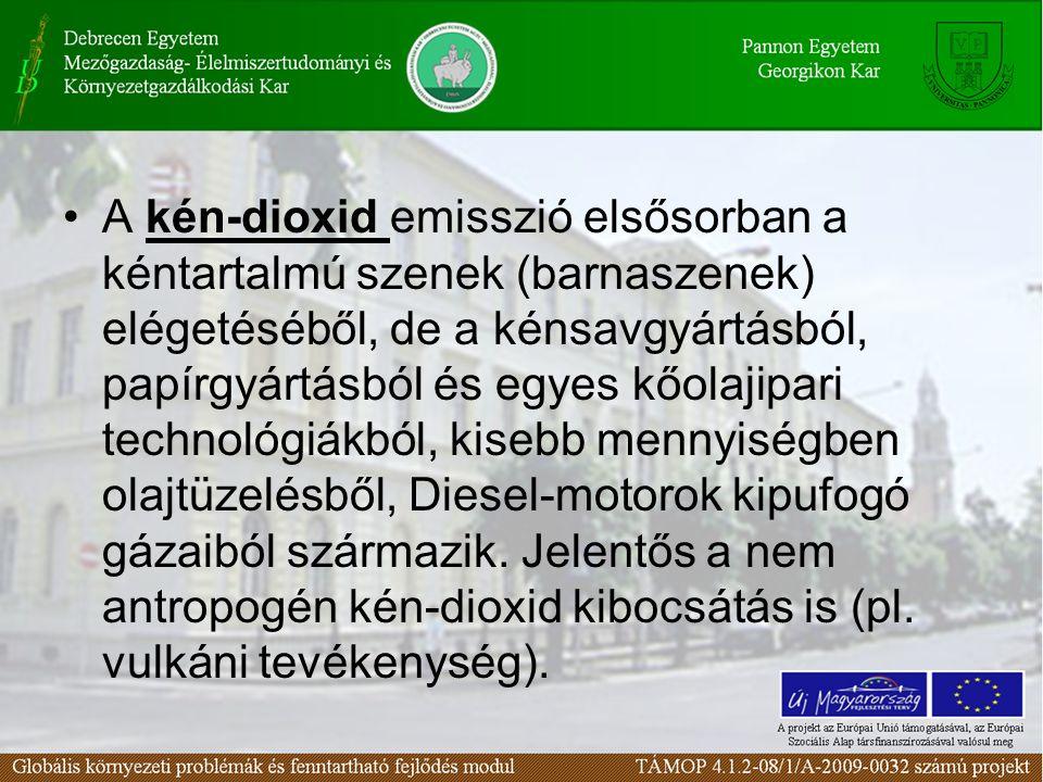 A kén-dioxid emisszió elsősorban a kéntartalmú szenek (barnaszenek) elégetéséből, de a kénsavgyártásból, papírgyártásból és egyes kőolajipari technológiákból, kisebb mennyiségben olajtüzelésből, Diesel-motorok kipufogó gázaiból származik.