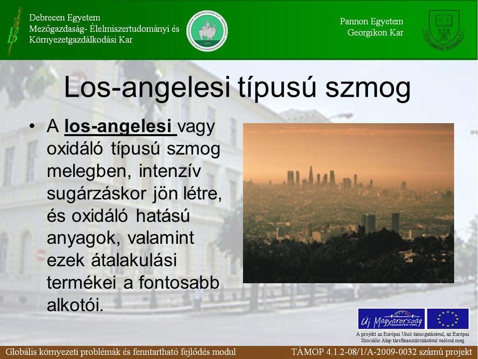 Los-angelesi típusú szmog A los-angelesi vagy oxidáló típusú szmog melegben, intenzív sugárzáskor jön létre, és oxidáló hatású anyagok, valamint ezek átalakulási termékei a fontosabb alkotói.
