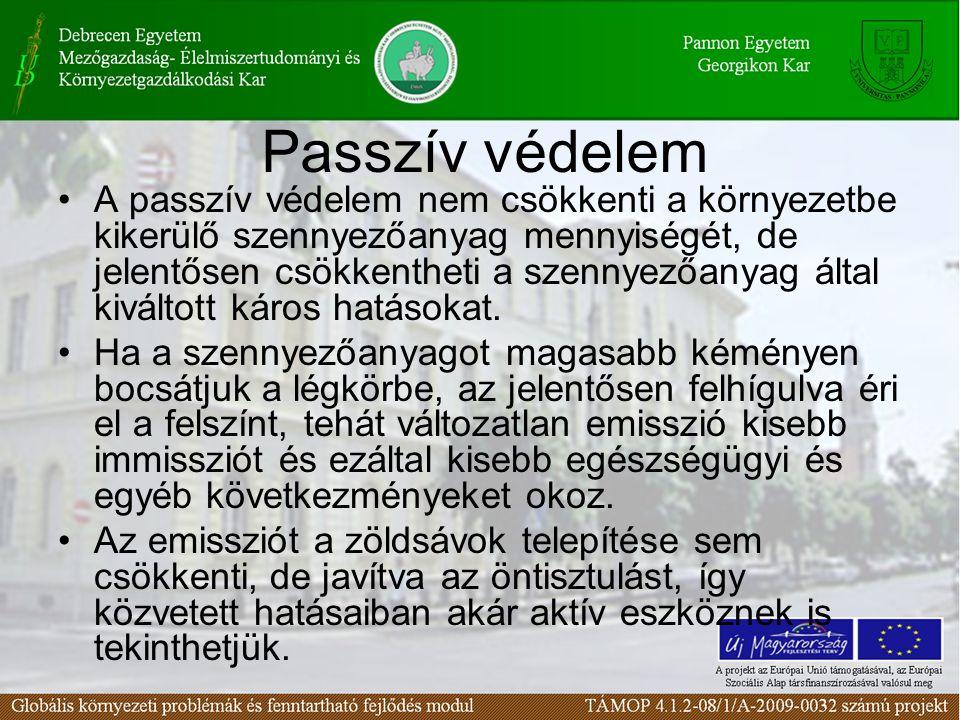 Passzív védelem A passzív védelem nem csökkenti a környezetbe kikerülő szennyezőanyag mennyiségét, de jelentősen csökkentheti a szennyezőanyag által kiváltott káros hatásokat.