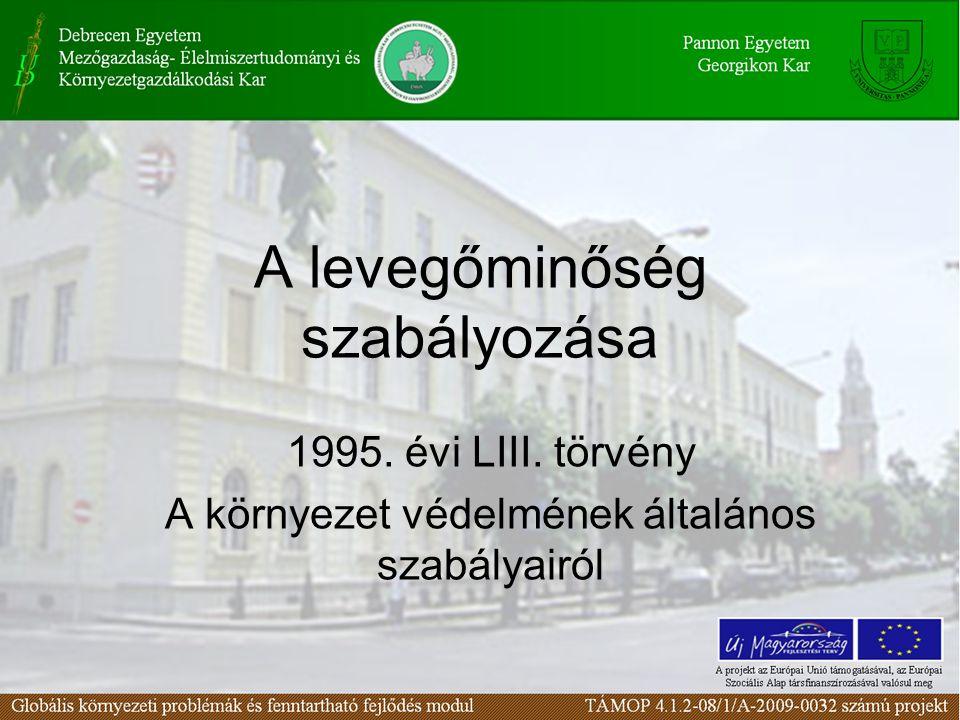 A levegőminőség szabályozása 1995. évi LIII. törvény A környezet védelmének általános szabályairól