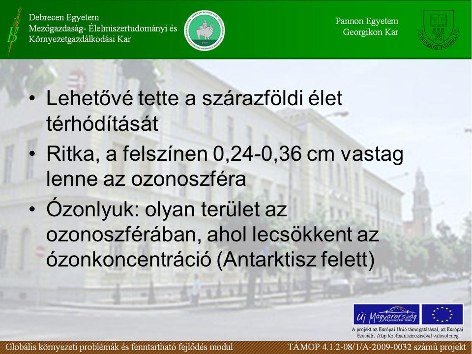 Lehetővé tette a szárazföldi élet térhódítását Ritka, a felszínen 0,24-0,36 cm vastag lenne az ozonoszféra Ózonlyuk: olyan terület az ozonoszférában, ahol lecsökkent az ózonkoncentráció (Antarktisz felett)