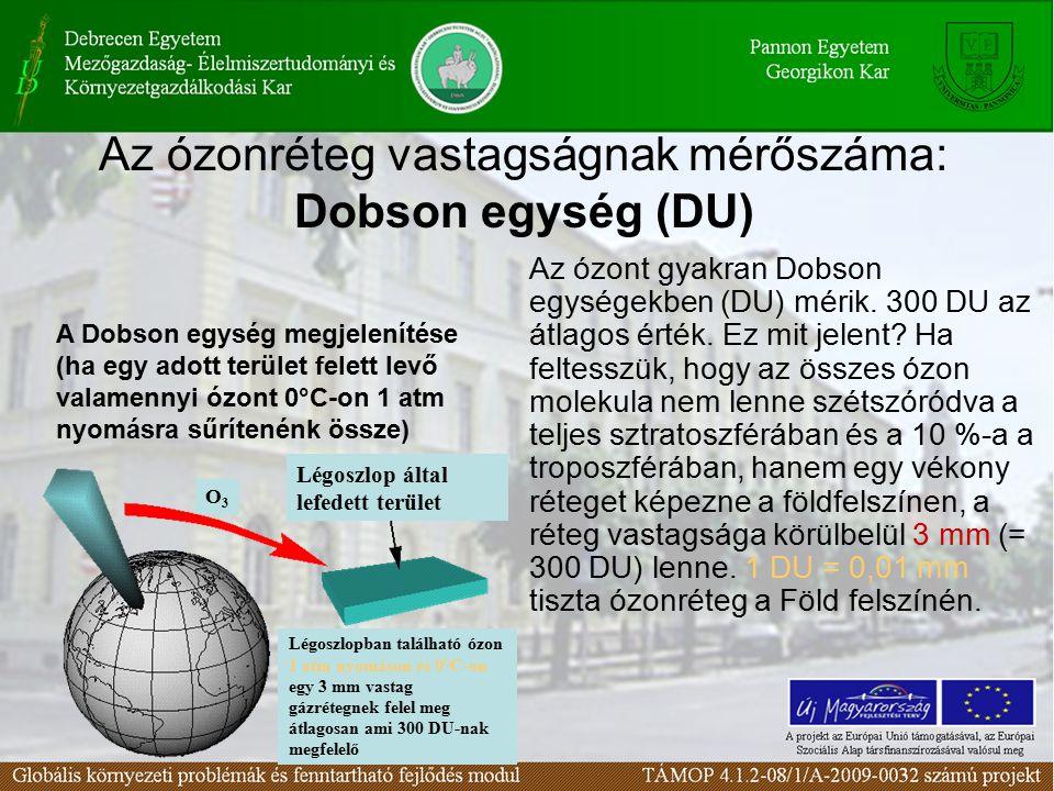 Az ózonréteg vastagságnak mérőszáma: Dobson egység (DU) Az ózont gyakran Dobson egységekben (DU) mérik.