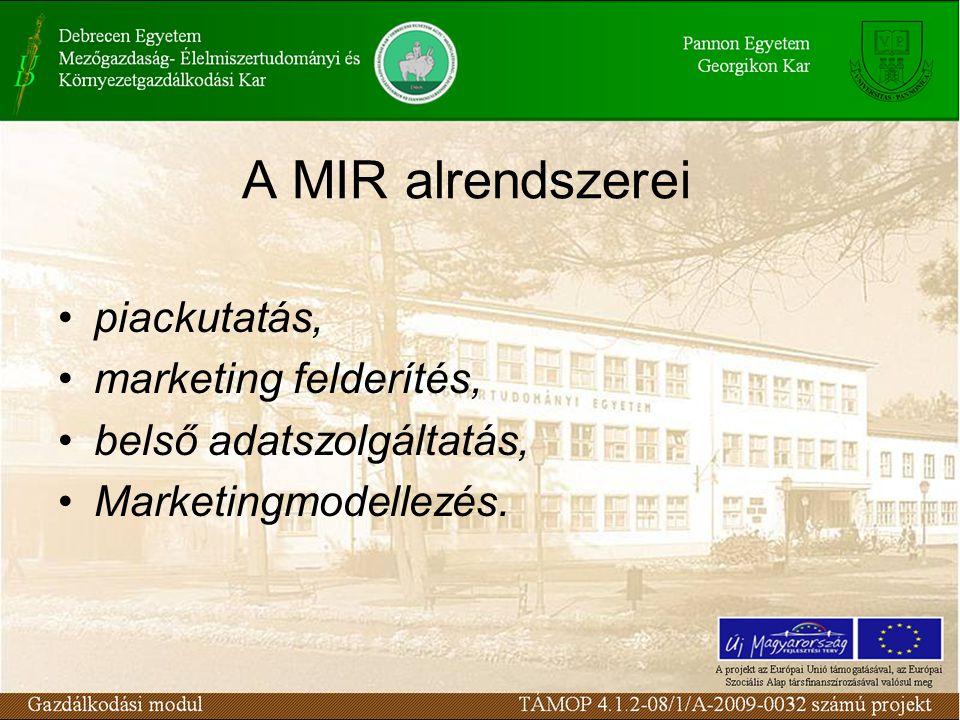A MIR alrendszerei piackutatás, marketing felderítés, belső adatszolgáltatás, Marketingmodellezés.