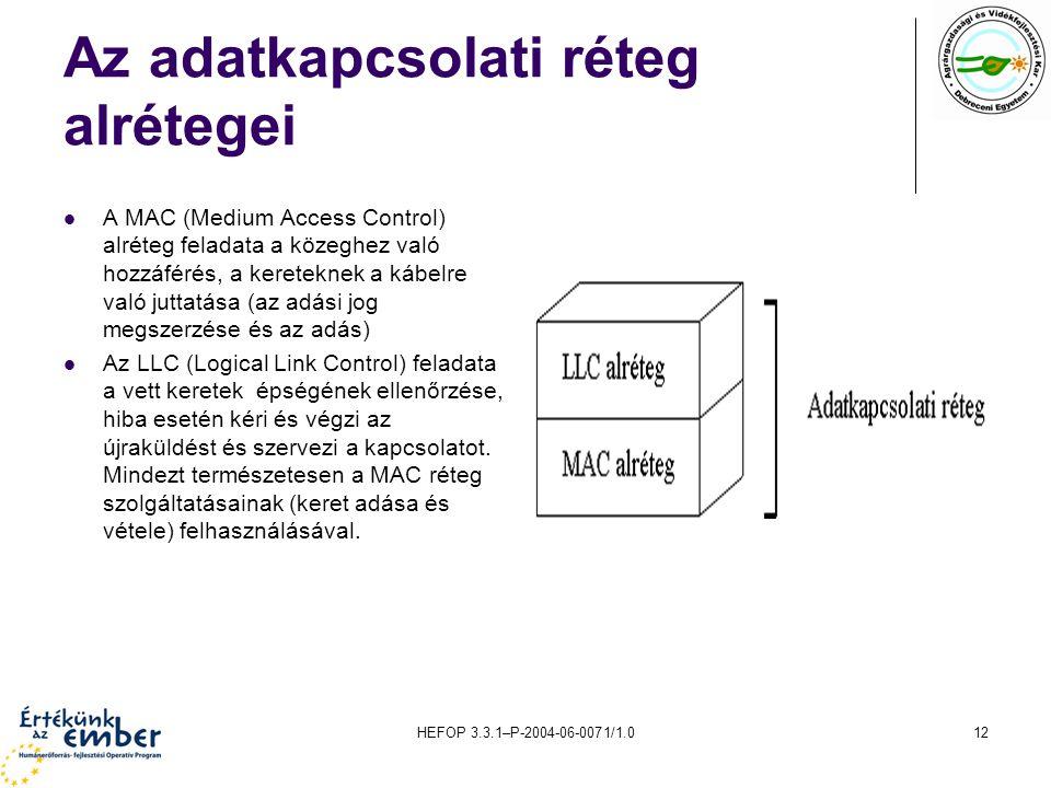 HEFOP 3.3.1–P-2004-06-0071/1.012 Az adatkapcsolati réteg alrétegei A MAC (Medium Access Control) alréteg feladata a közeghez való hozzáférés, a kereteknek a kábelre való juttatása (az adási jog megszerzése és az adás) Az LLC (Logical Link Control) feladata a vett keretek épségének ellenőrzése, hiba esetén kéri és végzi az újraküldést és szervezi a kapcsolatot.