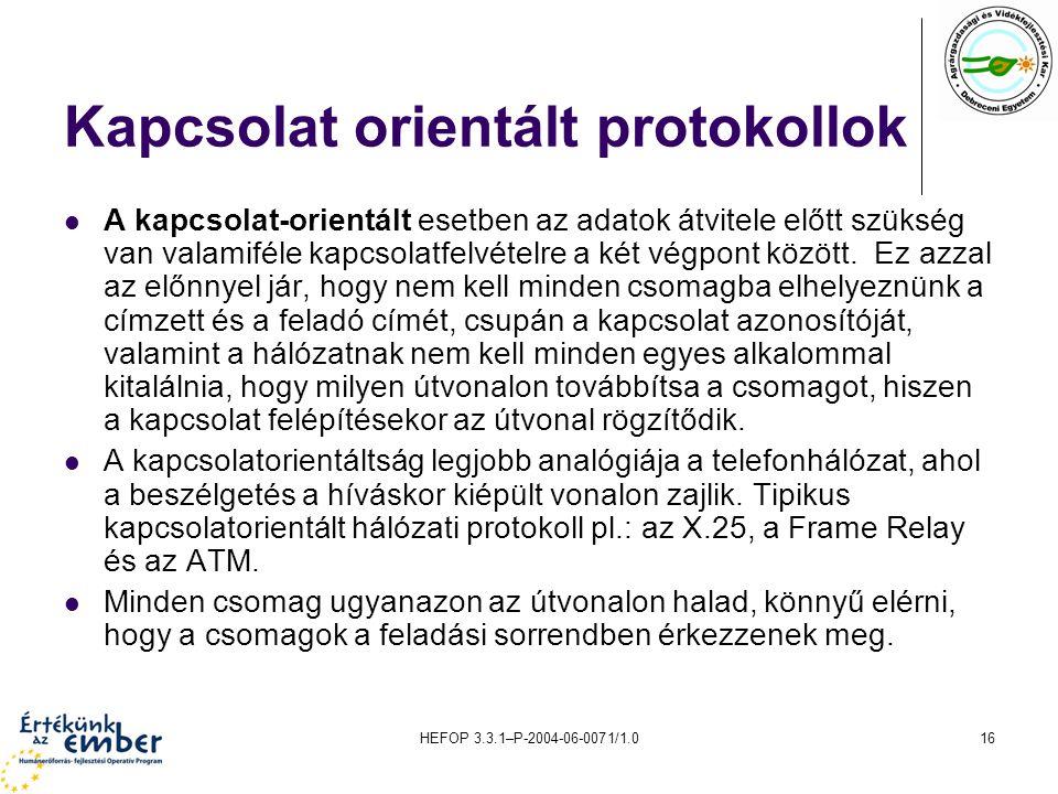 HEFOP 3.3.1–P-2004-06-0071/1.016 Kapcsolat orientált protokollok A kapcsolat-orientált esetben az adatok átvitele előtt szükség van valamiféle kapcsolatfelvételre a két végpont között.