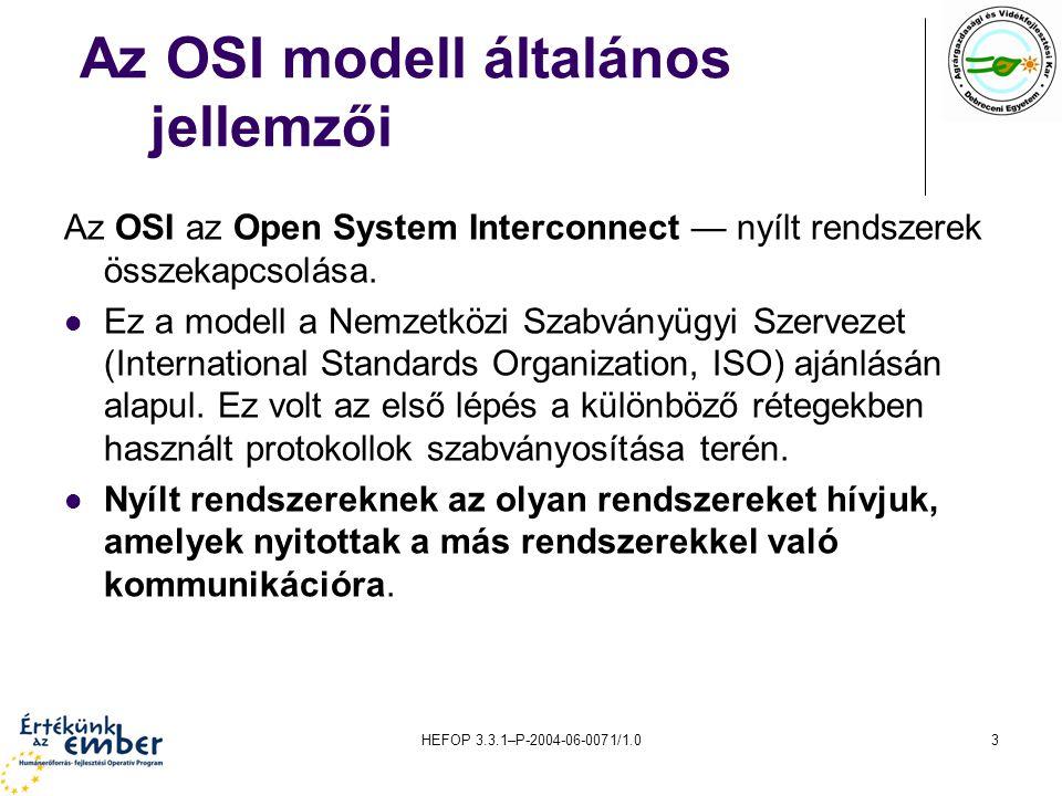 HEFOP 3.3.1–P-2004-06-0071/1.03 Az OSI modell általános jellemzői Az OSI az Open System Interconnect — nyílt rendszerek összekapcsolása.