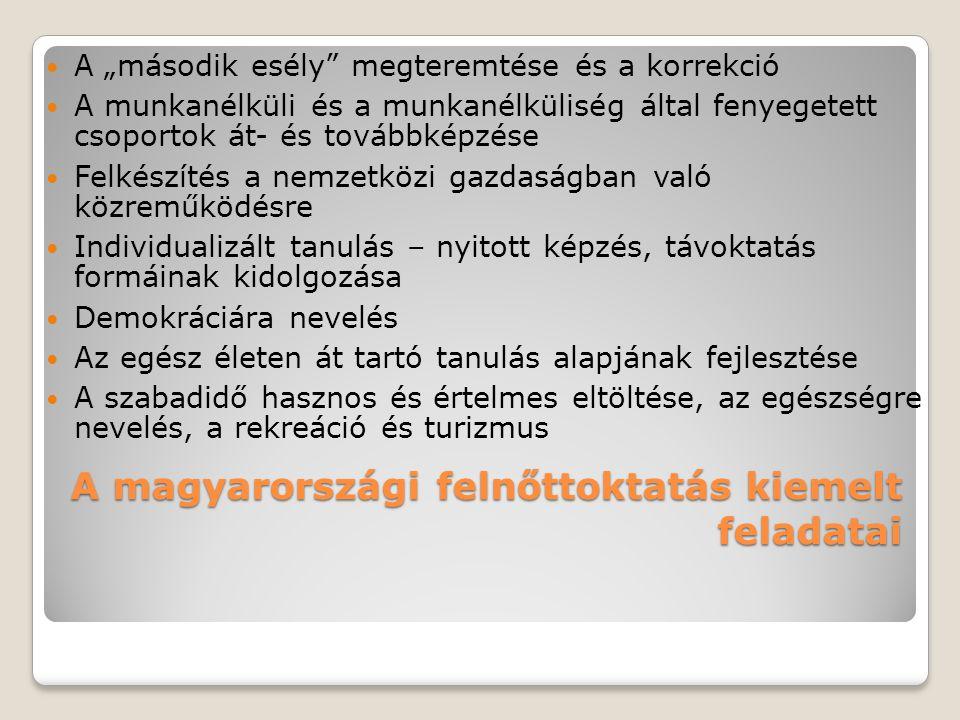 """A magyarországi felnőttoktatás kiemelt feladatai A """"második esély"""" megteremtése és a korrekció A munkanélküli és a munkanélküliség által fenyegetett c"""