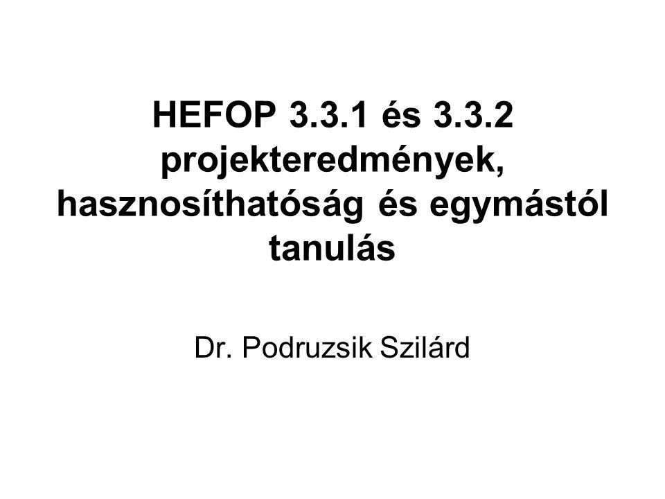 HEFOP 3.3.1 és 3.3.2 projekteredmények, hasznosíthatóság és egymástól tanulás Dr. Podruzsik Szilárd