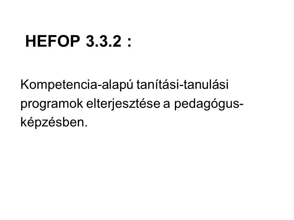 HEFOP 3.3.2 : Kompetencia-alapú tanítási-tanulási programok elterjesztése a pedagógus- képzésben.