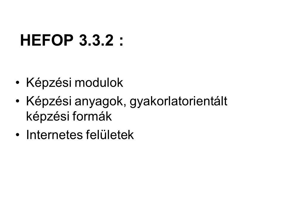 HEFOP 3.3.2 : Képzési modulok Képzési anyagok, gyakorlatorientált képzési formák Internetes felületek