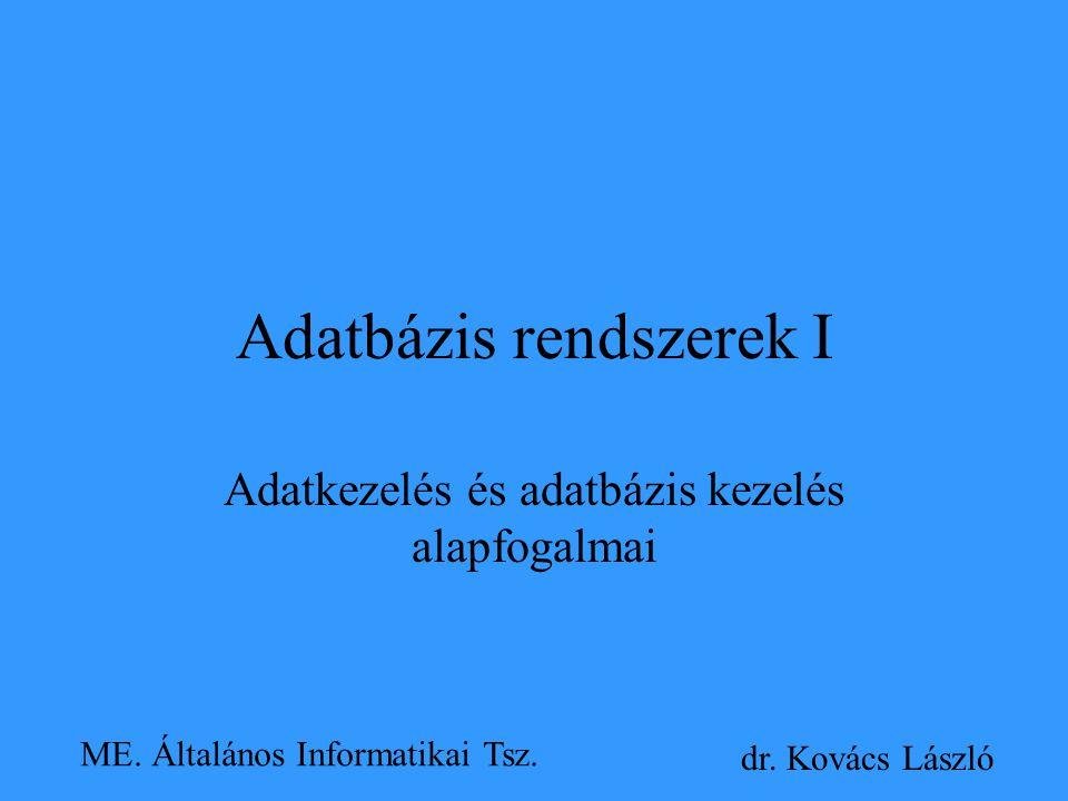 Adatbázis rendszerek I Adatkezelés és adatbázis kezelés alapfogalmai dr. Kovács László ME. Általános Informatikai Tsz.