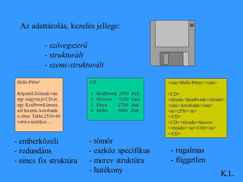 Az adattárolás, kezelés jellege: - szövegszerű - strukturált - szemi-strukturált Hello Péter! Képzeld Zolinak van egy nagyon jó CD-je, egy Kraftwerk l