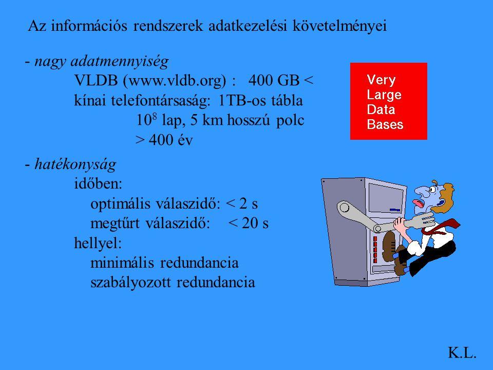 - nagy adatmennyiség VLDB (www.vldb.org) : 400 GB < kínai telefontársaság: 1TB-os tábla 10 8 lap, 5 km hosszú polc > 400 év - hatékonyság időben: opti