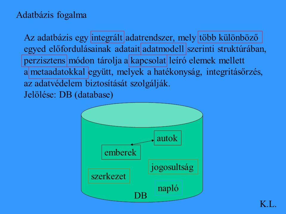 Adatbázis fogalma K.L. Az adatbázis egy integrált adatrendszer, mely több különböző egyed előfordulásainak adatait adatmodell szerinti struktúrában, p