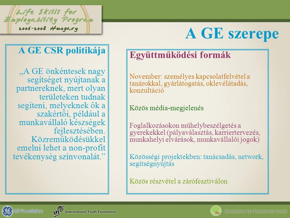 """A GE szerepe A GE CSR politikája """"A GE önkéntesek nagy segítséget nyújtanak a partnereknek, mert olyan területeken tudnak segíteni, melyeknek ők a sza"""