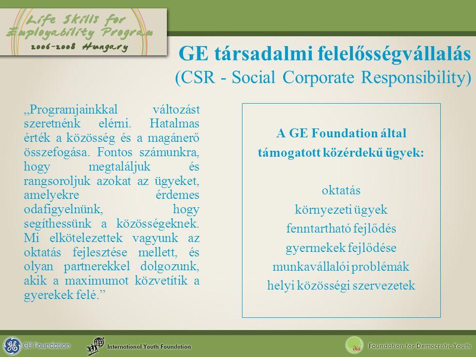 """GE társadalmi felelősségvállalás (CSR - Social Corporate Responsibility) """"Programjainkkal változást szeretnénk elérni. Hatalmas érték a közösség és a"""