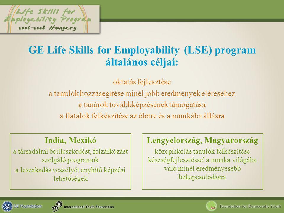 GE Life Skills for Employability (LSE) program általános céljai: India, Mexikó a társadalmi beilleszkedést, felzárkózást szolgáló programok a leszakad