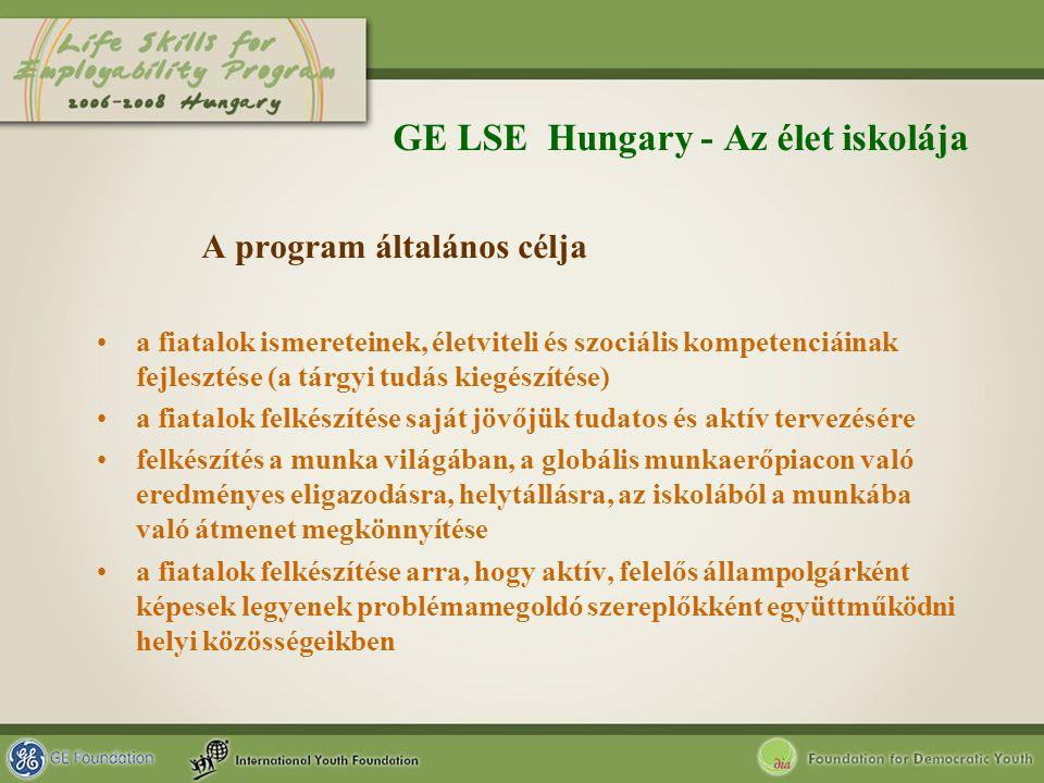 GE LSE Hungary - Az élet iskolája A program általános célja a fiatalok ismereteinek, életviteli és szociális kompetenciáinak fejlesztése (a tárgyi tud