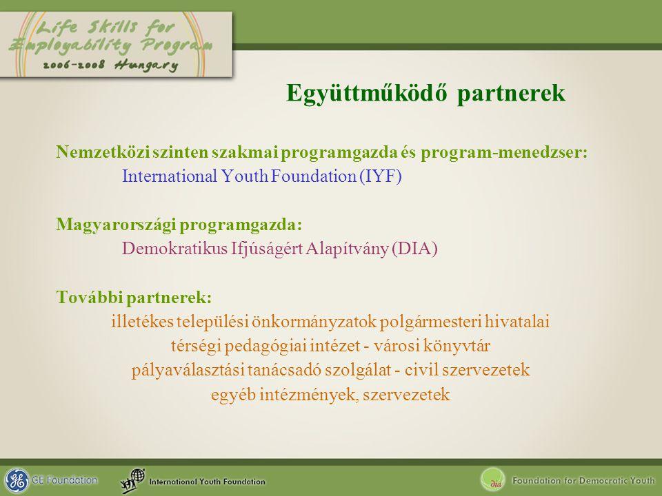 Együttműködő partnerek Nemzetközi szinten szakmai programgazda és program-menedzser: International Youth Foundation (IYF) Magyarországi programgazda: