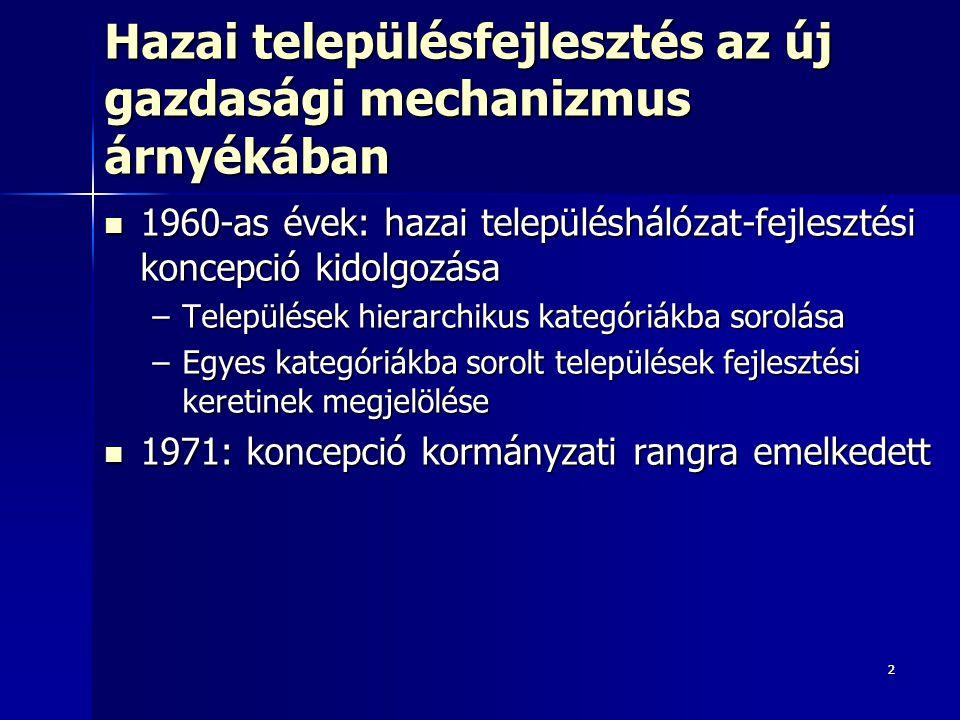 22 Hazai településfejlesztés az új gazdasági mechanizmus árnyékában 1960-as évek: hazai településhálózat-fejlesztési koncepció kidolgozása 1960-as évek: hazai településhálózat-fejlesztési koncepció kidolgozása –Települések hierarchikus kategóriákba sorolása –Egyes kategóriákba sorolt települések fejlesztési keretinek megjelölése 1971: koncepció kormányzati rangra emelkedett 1971: koncepció kormányzati rangra emelkedett