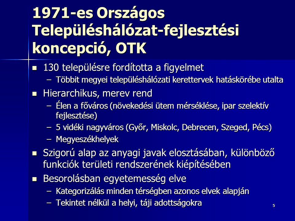 55 1971-es Országos Településhálózat-fejlesztési koncepció, OTK 130 településre fordította a figyelmet 130 településre fordította a figyelmet –Többit megyei településhálózati kerettervek hatáskörébe utalta Hierarchikus, merev rend Hierarchikus, merev rend –Élen a főváros (növekedési ütem mérséklése, ipar szelektív fejlesztése) –5 vidéki nagyváros (Győr, Miskolc, Debrecen, Szeged, Pécs) –Megyeszékhelyek Szigorú alap az anyagi javak elosztásában, különböző funkciók területi rendszerének kiépítésében Szigorú alap az anyagi javak elosztásában, különböző funkciók területi rendszerének kiépítésében Besorolásban egyetemesség elve Besorolásban egyetemesség elve –Kategorizálás minden térségben azonos elvek alapján –Tekintet nélkül a helyi, táji adottságokra