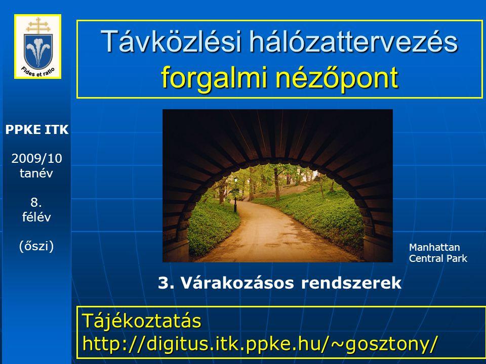 PPKE ITK 2009/10 tanév 8. félév (őszi) Távközlési hálózattervezés forgalmi nézőpont Tájékoztatás http://digitus.itk.ppke.hu/~gosztony/ 3. Várakozásos