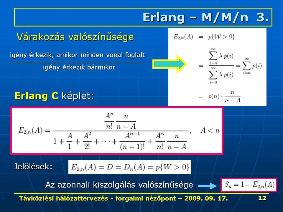 Távközlési hálózattervezés - forgalmi nézőpont – 2009. 09. 17. 12 Erlang – M/M/n 3. Várakozás valószínűsége igény érkezik, amikor minden vonal foglalt