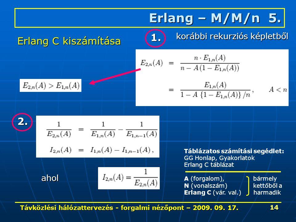 Távközlési hálózattervezés - forgalmi nézőpont – 2009. 09. 17. 14 Erlang – M/M/n 5. Erlang C kiszámítása 1. 2. ahol korábbi rekurziós képletből Tábláz