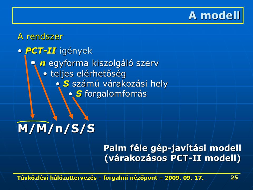 Távközlési hálózattervezés - forgalmi nézőpont – 2009. 09. 17. 25 A modell A rendszer PCT-II igények PCT-II igények n egyforma kiszolgáló szerv n egyf