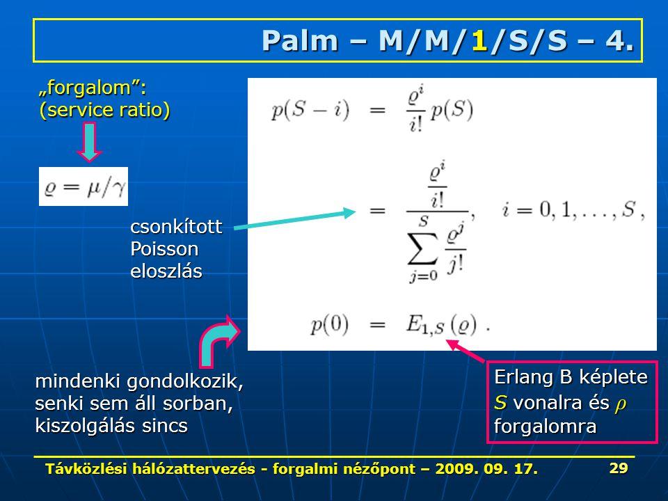Távközlési hálózattervezés - forgalmi nézőpont – 2009. 09. 17. 29 Palm – M/M/1/S/S – 4. csonkítottPoissoneloszlás mindenki gondolkozik, senki sem áll