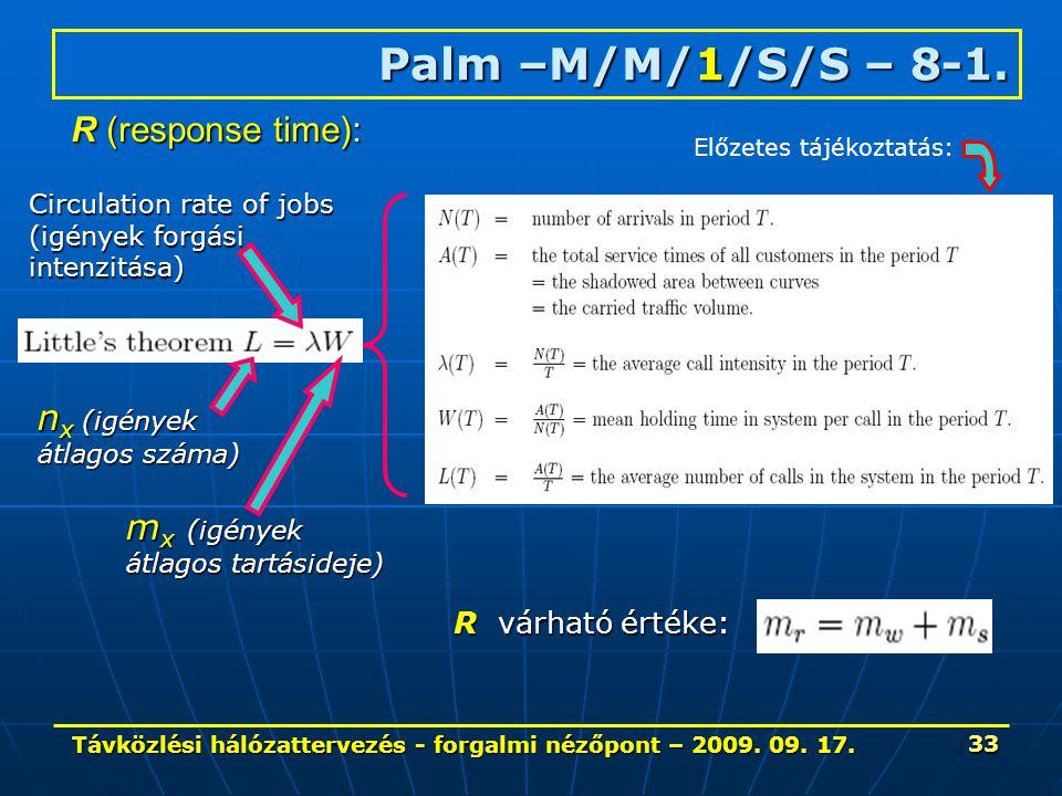 Távközlési hálózattervezés - forgalmi nézőpont – 2009. 09. 17. 33 Palm –M/M/1/S/S – 8-1. Circulation rate of jobs (igények forgási intenzitása) m x (i
