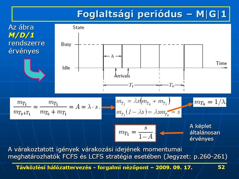 Távközlési hálózattervezés - forgalmi nézőpont – 2009. 09. 17. 52 Foglaltsági periódus – M|G|1 Az ábra M/D/1rendszerreérvényes A várakoztatott igények