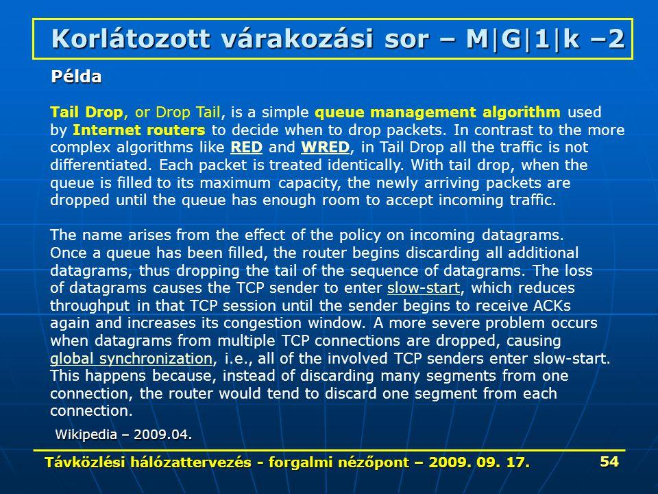 Távközlési hálózattervezés - forgalmi nézőpont – 2009. 09. 17. 54 Korlátozott várakozási sor – M|G|1|k –2 Tail Drop, or Drop Tail, is a simple queue m