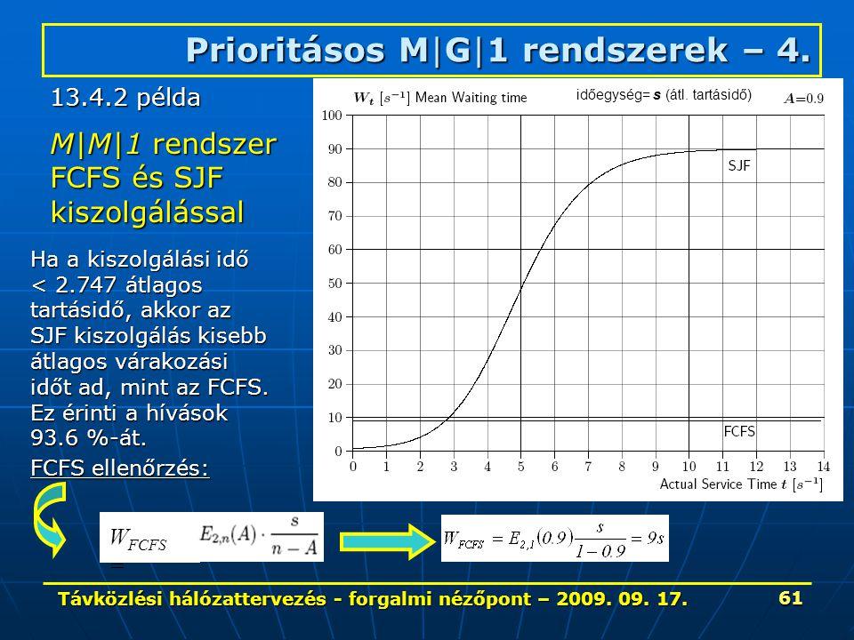 Távközlési hálózattervezés - forgalmi nézőpont – 2009. 09. 17. 61 Prioritásos M|G|1 rendszerek – 4. M|M|1 rendszer FCFS és SJF kiszolgálással Ha a kis
