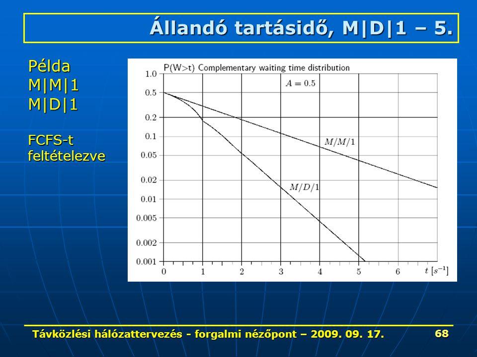Távközlési hálózattervezés - forgalmi nézőpont – 2009. 09. 17. 68 Állandó tartásidő, M|D|1 – 5. Példa M|M|1 M|D|1 FCFS-tfeltételezve