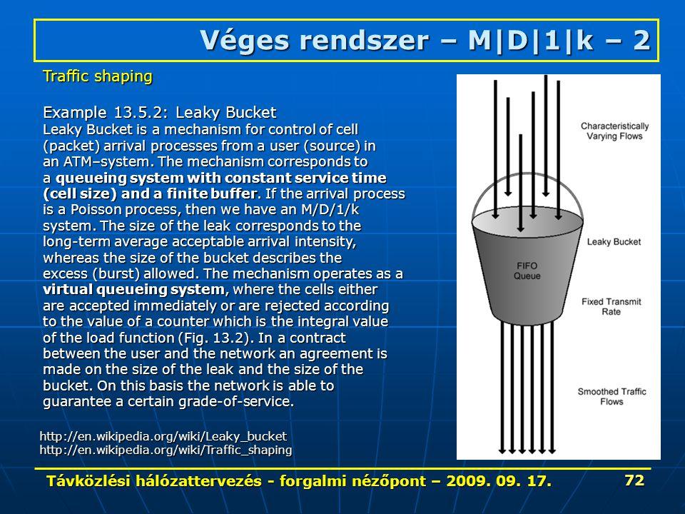 Távközlési hálózattervezés - forgalmi nézőpont – 2009. 09. 17. 72 Véges rendszer – M|D|1|k – 2 http://en.wikipedia.org/wiki/Leaky_buckethttp://en.wiki