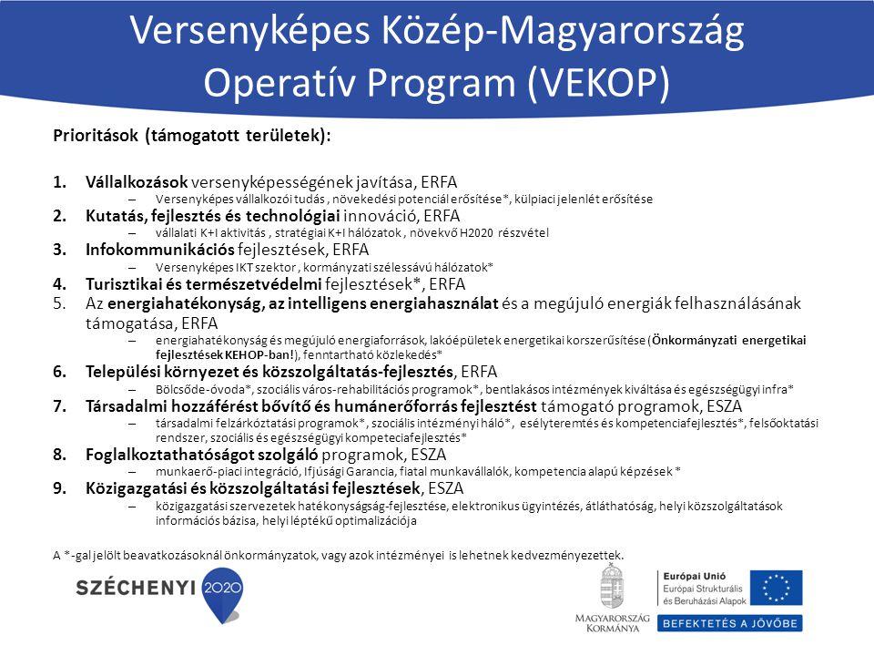 Prioritások (támogatott területek): 1.Vállalkozások versenyképességének javítása, ERFA – Versenyképes vállalkozói tudás, növekedési potenciál erősítése*, külpiaci jelenlét erősítése 2.Kutatás, fejlesztés és technológiai innováció, ERFA – vállalati K+I aktivitás, stratégiai K+I hálózatok, növekvő H2020 részvétel 3.Infokommunikációs fejlesztések, ERFA – Versenyképes IKT szektor, kormányzati szélessávú hálózatok* 4.Turisztikai és természetvédelmi fejlesztések*, ERFA 5.Az energiahatékonyság, az intelligens energiahasználat és a megújuló energiák felhasználásának támogatása, ERFA – energiahatékonyság és megújuló energiaforrások, lakóépületek energetikai korszerűsítése (Önkormányzati energetikai fejlesztések KEHOP-ban!), fenntartható közlekedés* 6.Települési környezet és közszolgáltatás-fejlesztés, ERFA – Bölcsőde-óvoda*, szociális város-rehabilitációs programok*, bentlakásos intézmények kiváltása és egészségügyi infra* 7.Társadalmi hozzáférést bővítő és humánerőforrás fejlesztést támogató programok, ESZA – társadalmi felzárkóztatási programok*, szociális intézményi háló*, esélyteremtés és kompetenciafejlesztés*, felsőoktatási rendszer, szociális és egészségügyi kompeteciafejlesztés* 8.Foglalkoztathatóságot szolgáló programok, ESZA – munkaerő-piaci integráció, Ifjúsági Garancia, fiatal munkavállalók, kompetencia alapú képzések * 9.Közigazgatási és közszolgáltatási fejlesztések, ESZA – közigazgatási szervezetek hatékonyságság-fejlesztése, elektronikus ügyintézés, átláthatóság, helyi közszolgáltatások információs bázisa, helyi léptékű optimalizációja A *-gal jelölt beavatkozásoknál önkormányzatok, vagy azok intézményei is lehetnek kedvezményezettek.
