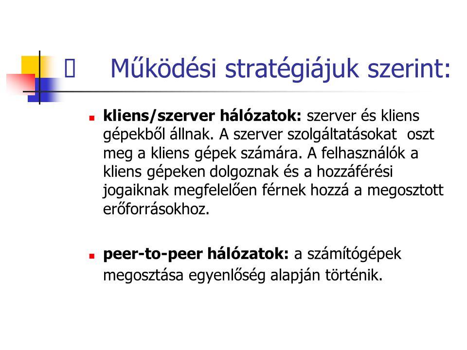  Működési stratégiájuk szerint: kliens/szerver hálózatok: szerver és kliens gépekből állnak.
