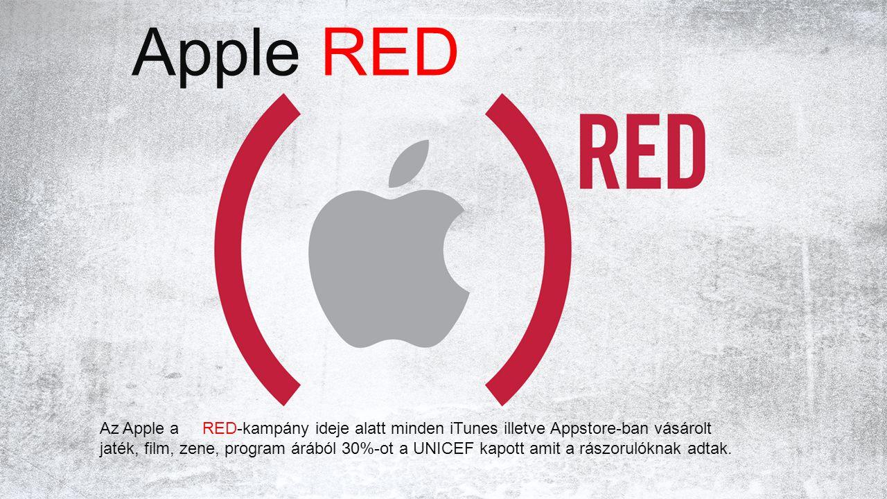 Apple RED Az Apple a RED-kampány ideje alatt minden iTunes illetve Appstore-ban vásárolt jaték, film, zene, program árából 30%-ot a UNICEF kapott amit