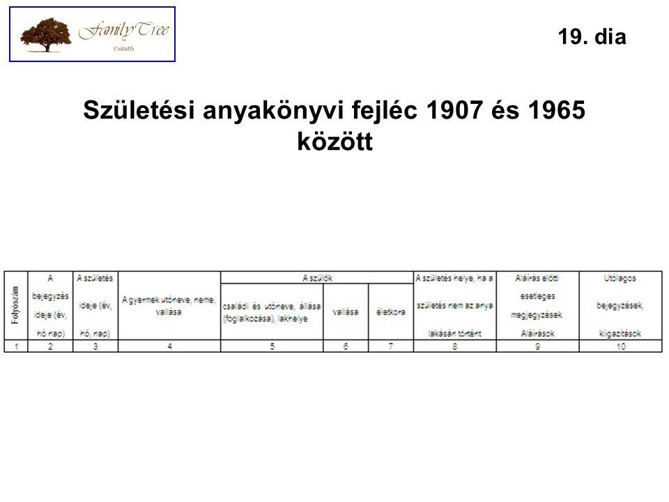 Születési anyakönyvi fejléc 1907 és 1965 között 19. dia